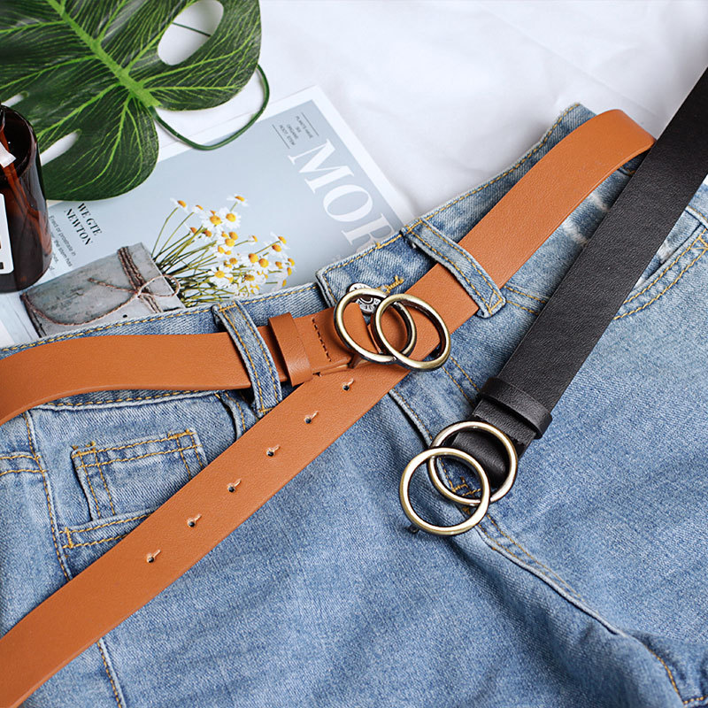 Ladies Dress Waist Young Girls Double Circle Buckles PU Fashion Belt