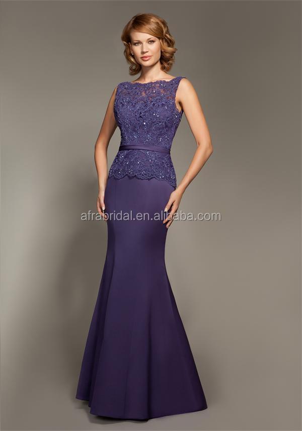 Sd1421 Cut Mermaid Evening Dresses Lace Bodice Purple Satin ...
