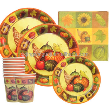 Disposable Paper Cup Plate Napkin Decorative Harvest Fall Thanksgiving Holiday Tableware Set  sc 1 st  Alibaba & Disposable Paper Cup Plate Napkin Decorative Harvest Fall ...