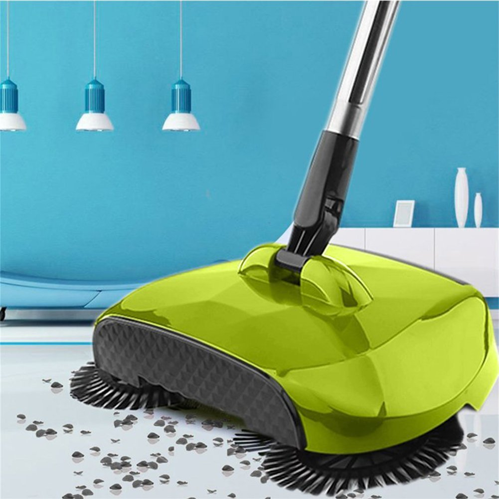 Qliwa Hand-Propelled Sweeper, 3 in 1 Automatic Roto Sweep Broom 360 Degree Rotating Hand Push Sweeper Cleaning Machine Without Electricity Dustpan Trash Bin Green