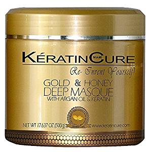KERATIN CURE - Deep Hair Reparation Masque 500 g / 15 Oz Gold & Honey with Argan Oil - Shea Butter Conditioning Moisturizing Hair Treatment by Keratin Cure