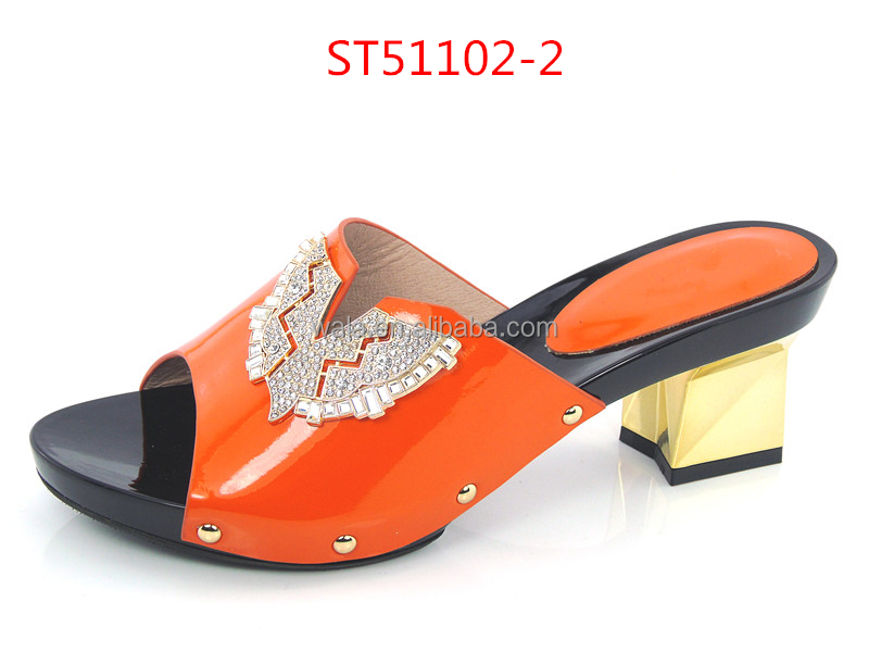slippers ST51102 wedding italian for sexy 2 leather women shoes fashion slippers orange pZwU04pFqx