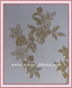 hemp fabric/Metallic Gold Flower Design Lace Applique Motif /OEM Service Supply Type