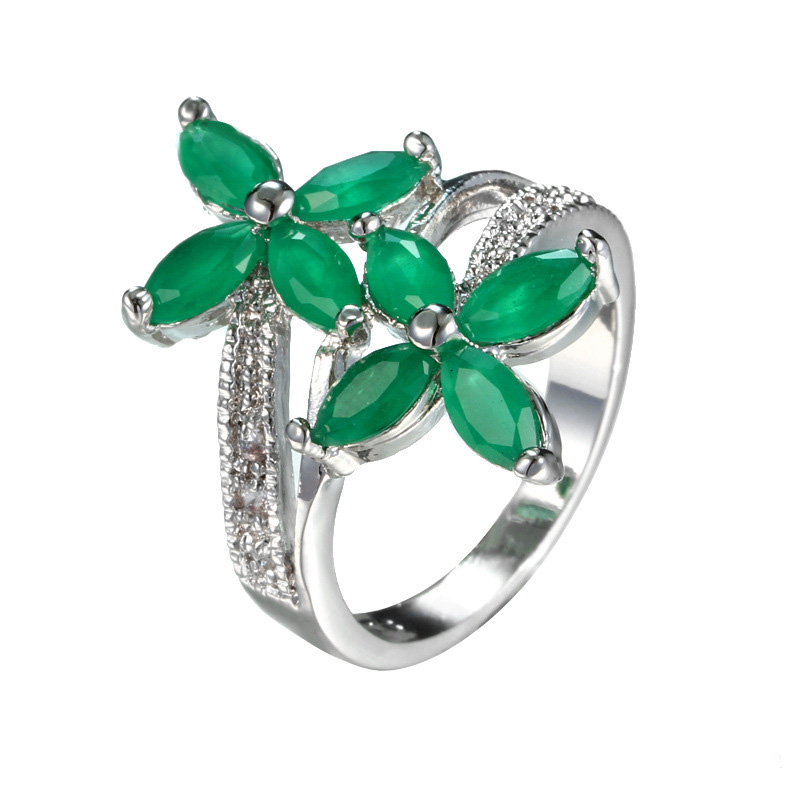 Women 925 Silver Plated Emerald Shape Jewelry Rings Cubic Zirconia Green Emerald Flower Cocktail Ring