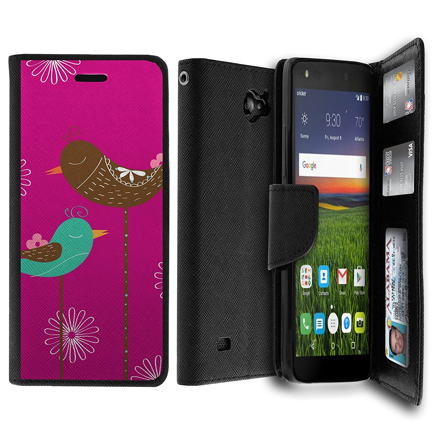 Case for ZTE Majesty Pro Case, Majesty Pro Wallet Case[MAX WALLET] Dual Purpose Wallet Case, Phone Protector and Wallet Style Design Card ID Slot Custom Print Design By Untouchble - Resting Birds