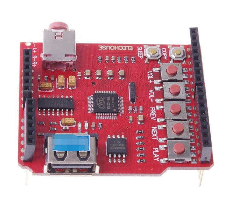 USB MP3 Shield MP3 Wave Shield Board With 64Mbit SPI Flash Audio Amplifier for Uno R3