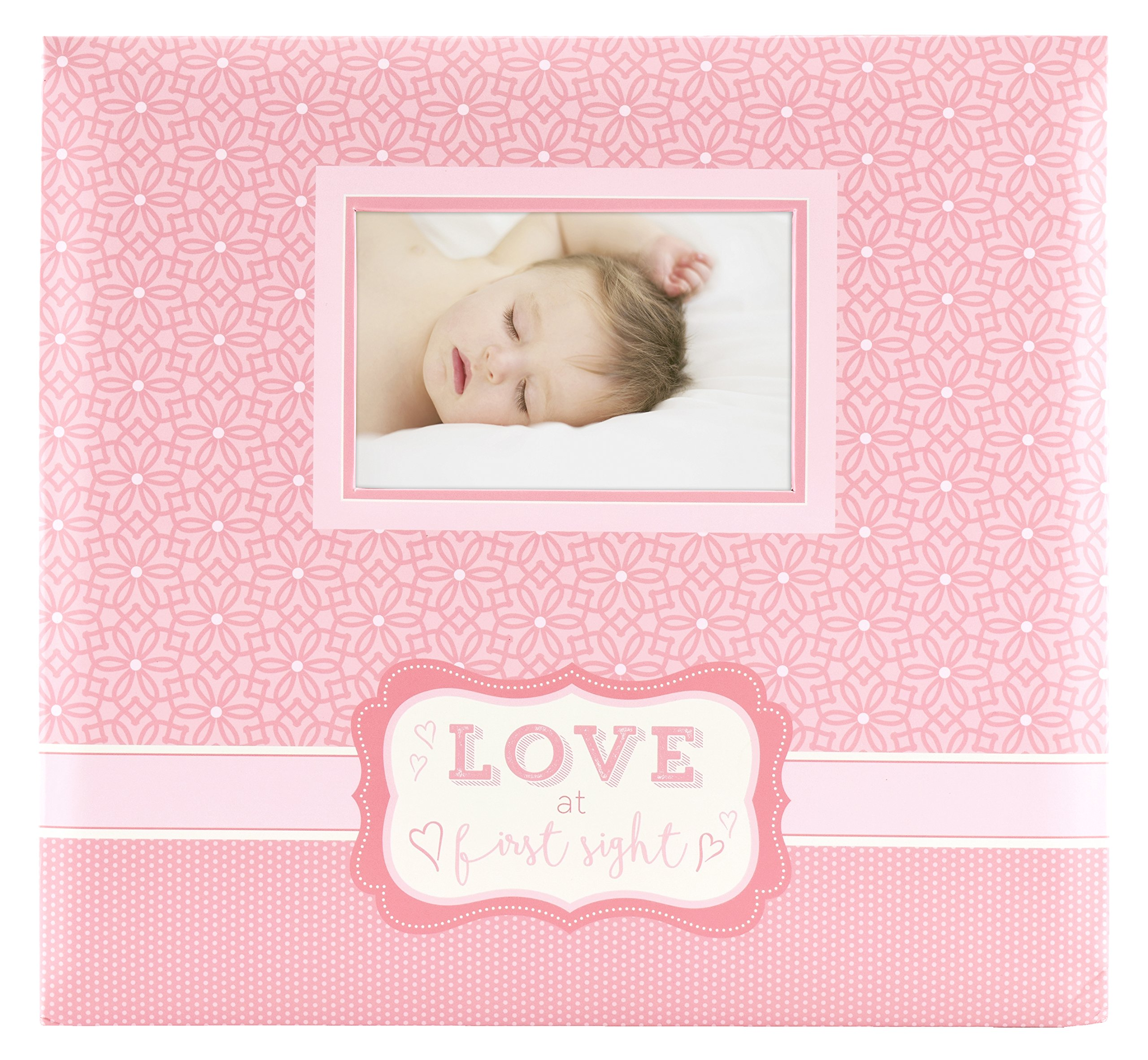 "MCS MBI 13.5x12.5 Inch ""Love at First Sight"" Baby Scrapbook Album with 12x12 Inch Pages, Pink (860126)"