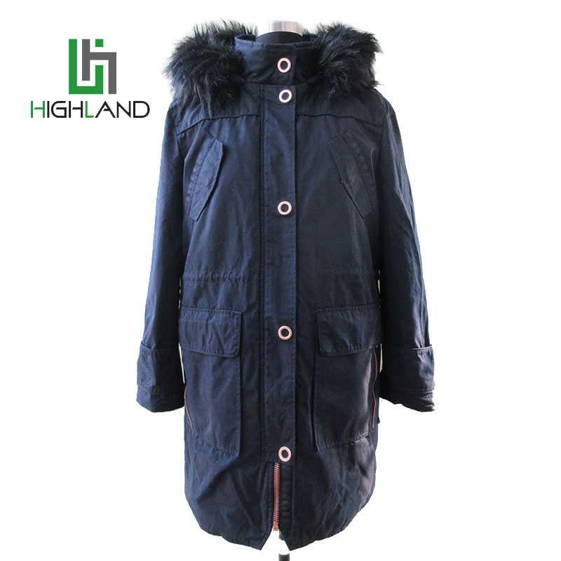 wholesale navy blue multi pocket long coat waist coat with webbing trim winter womens cotton coat