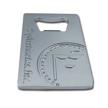 Metal credit card bottle opener with custom embossed company logo