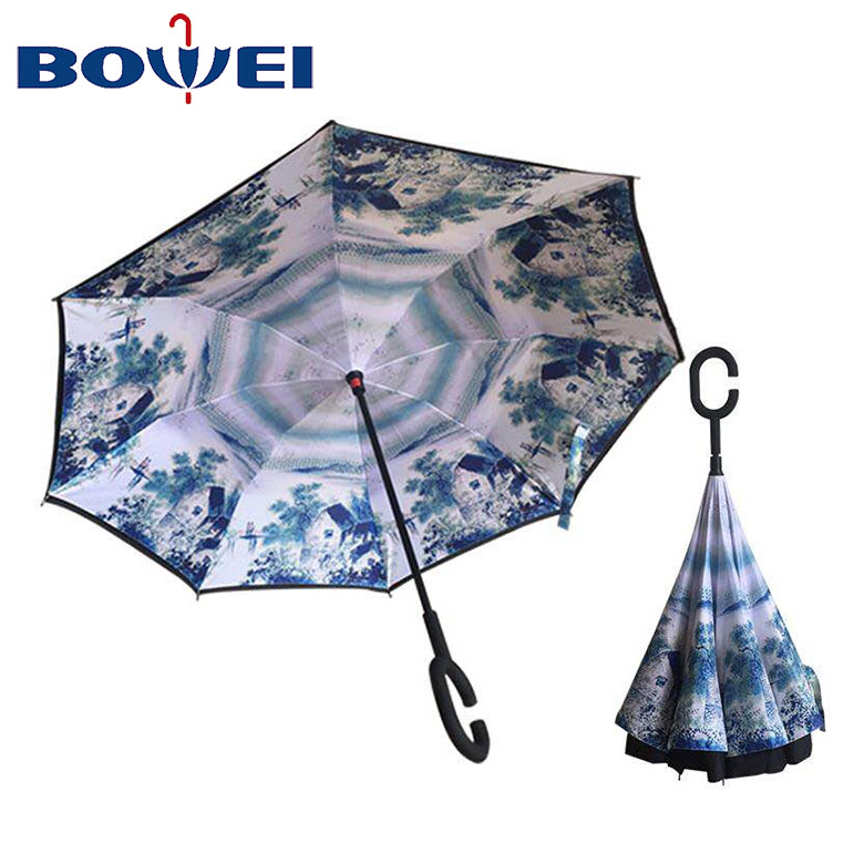 Chinese Manufacturer logo customize Inverted Umbrella with C Handle