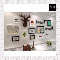 Simple Nordic solid wood photo wall living room European decorative painting picture frame combination wall home wall decoration