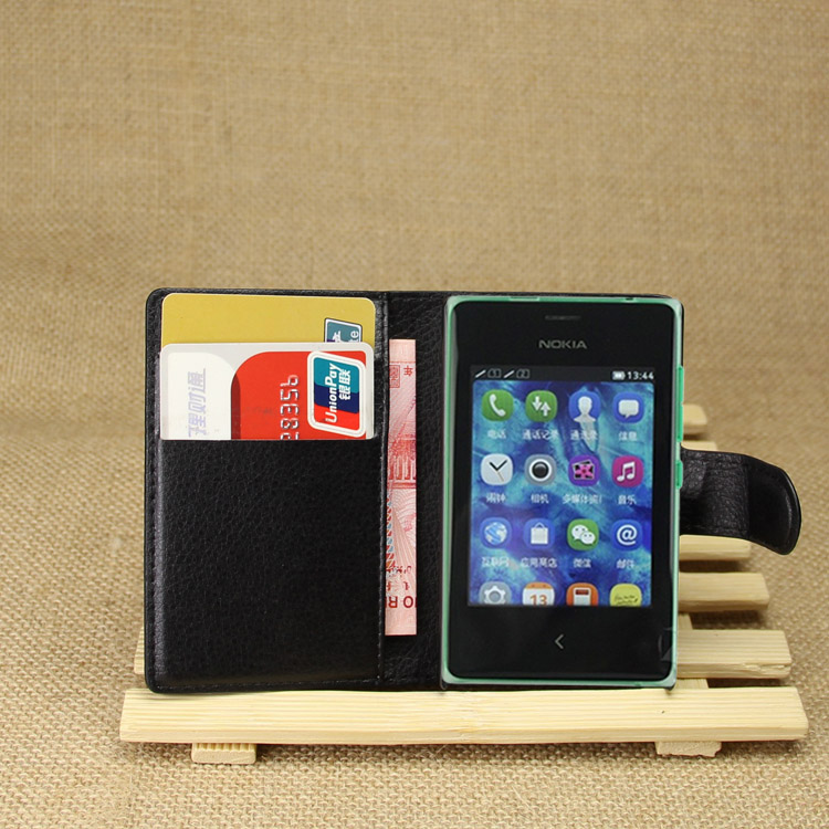 wholesale wallet leather cover case for Nokia ASHA502