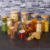 Modern Round Clear Glass Jar For Spice Food Storage With Wooden Cap