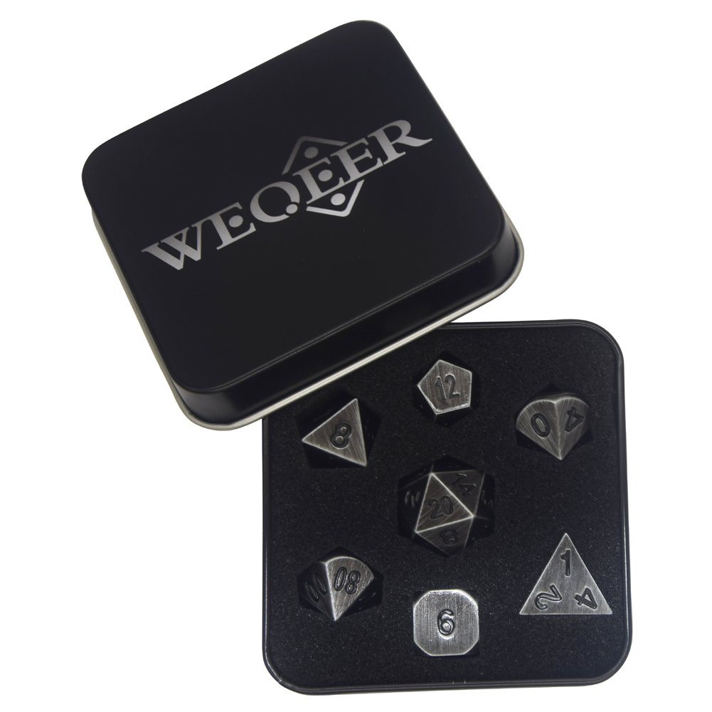 WEQEER RPG Metal Dice Set - 7 Antique Silver Finish Dice with Black Tin