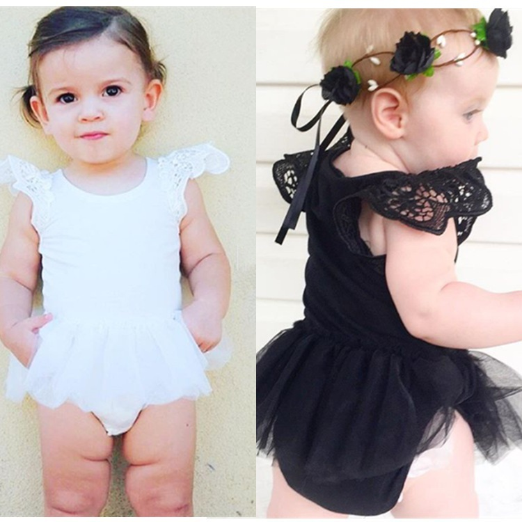 Lace tutu print fly sleeve girl dress romper infant baby clothing baby girls piece dresses