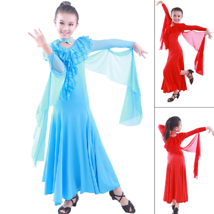 6c701cb91 Buy Children Dress Ballroom Dancing Girl Modern Dance Dress Kids Viennese Waltz  Dress Red/Lake Blue Waltz/Tango Stage Sexy Dress in Cheap Price on Alibaba.  ...