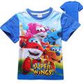 2016 Summer Super Wings Children Kids Boys Tops Tees T Shirts Cotton Fashion Children Boys Girls