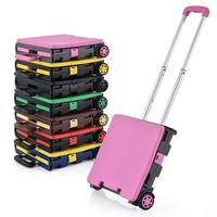 Plastic 2 Two-Wheeled Royal Collapsible Heavy-Duty Folding Office Cart with LID Mobile Utility Filing Cart