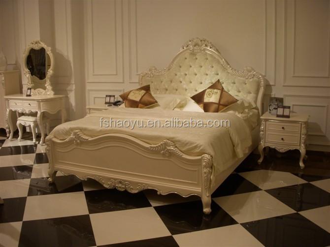 American style schlafzimmer möbel bett, Königin weißen bett-Antikes ...