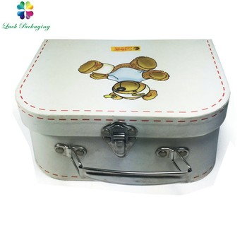 Wholesale Metal Handle Cheap Printing Cardboard Wrapping Paper Children  Doll Paper Suitcase Storage Box For Toy