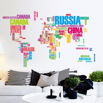 World Map Wall Decal Kids.Diy Colorful Letter Map Of The World Decal Kids World Map Vinyl Wall