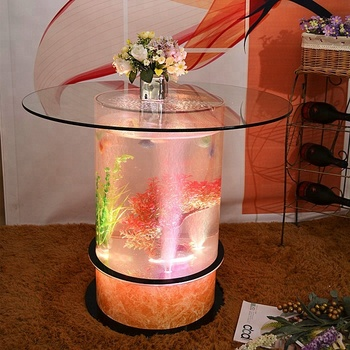 LED acrylic light table water bubble decor round coffee table fish tank