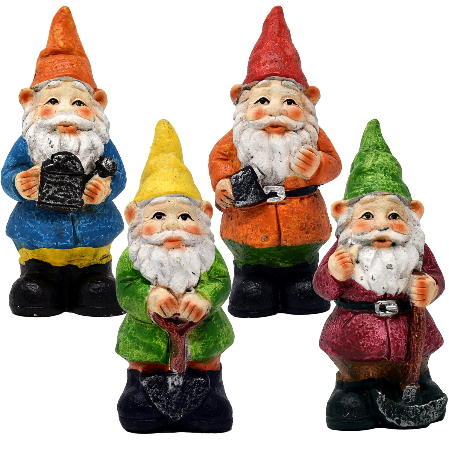 Gift Boutique Mini Fairy Garden Gnome Set of 3 Statue Figurines for Indoor Outdoor Landscape Yard Lawn Patio and Home Décor Miniature Cement Spring Sculpture Decorations Party Supplies Accessories