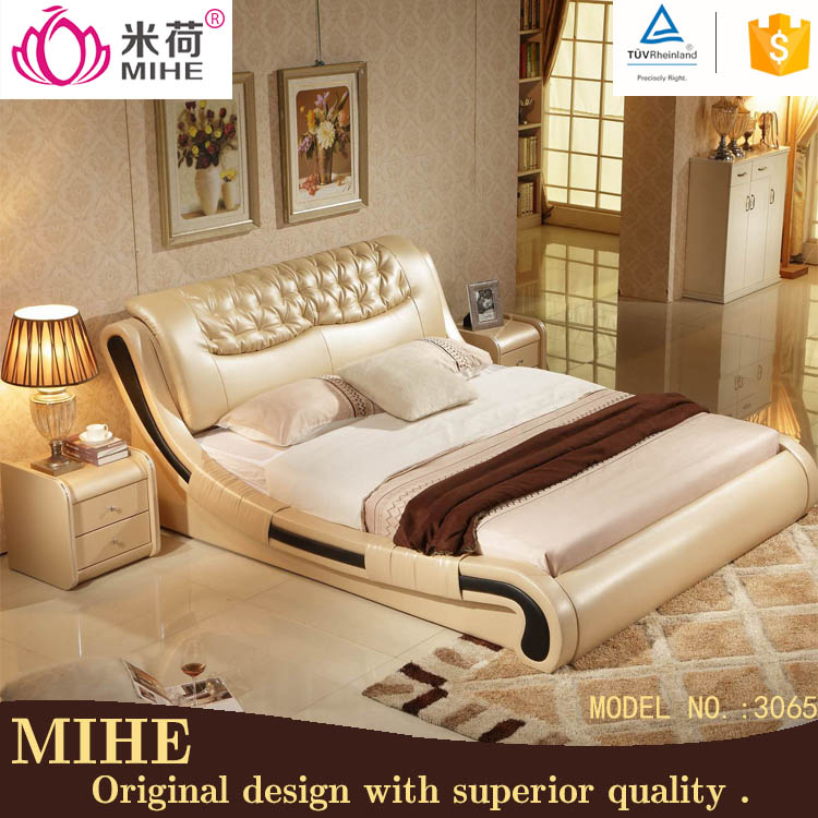 King size comfortable soft cheap leather round bed