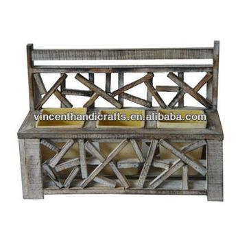 Outdoor Patio Storage Bench Deck Box Flower Planter Holder Three Plastic Pot