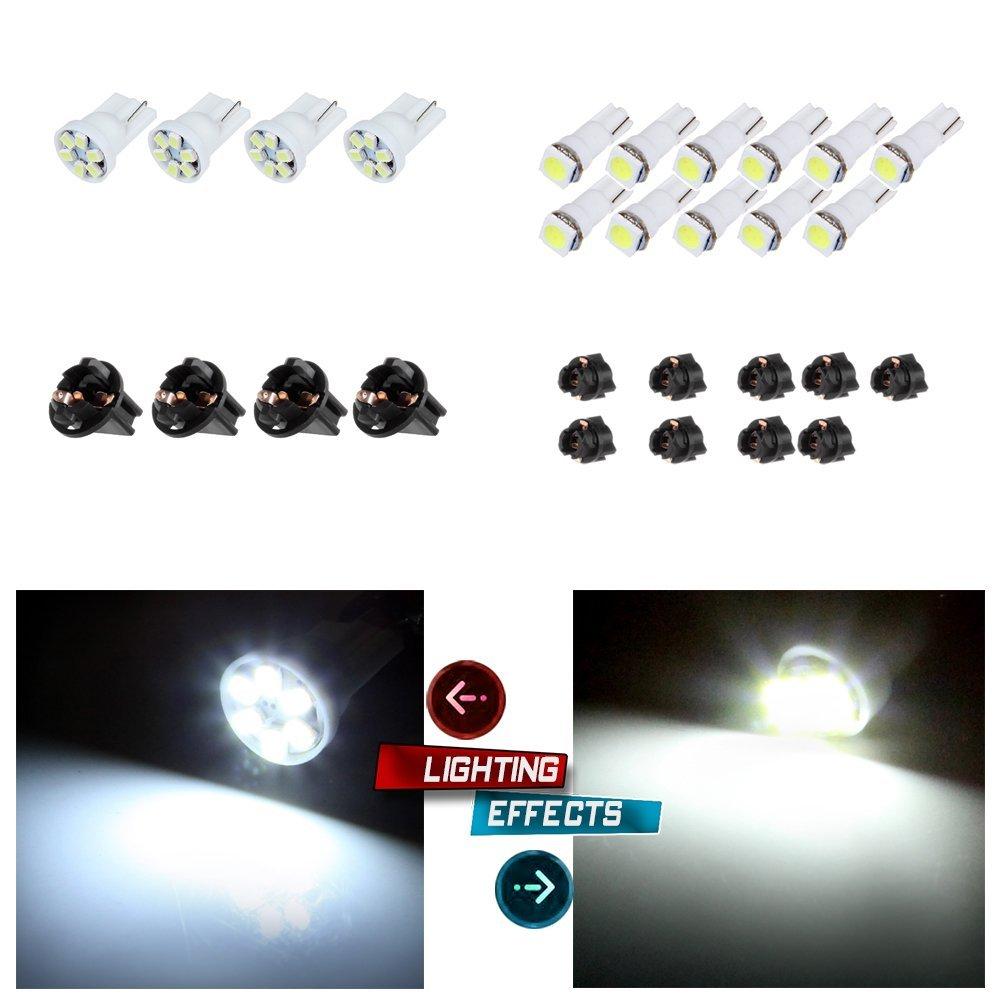 "cciyu 11x T5 5050 1SMD Wedge Xenon White LED Light Bulbs +4x T10 W5W Wedge 168 194 LED Bulb +4 T10 1/2"" 11 T5 168/194 Twist Lock Sockets"