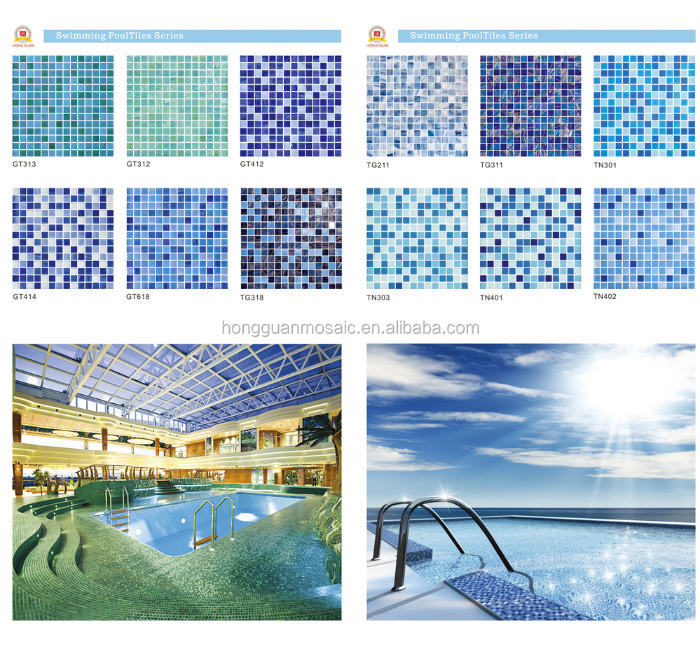 Best selling skidproof mosaic tiles for pool dark blue mix sky blue square glass mosaic for for Best thinset for swimming pool tile