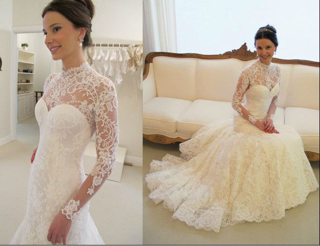 Fashion A-line Satin Open Back Long Sleeve Lace Wedding Dresses(WDS-1013)