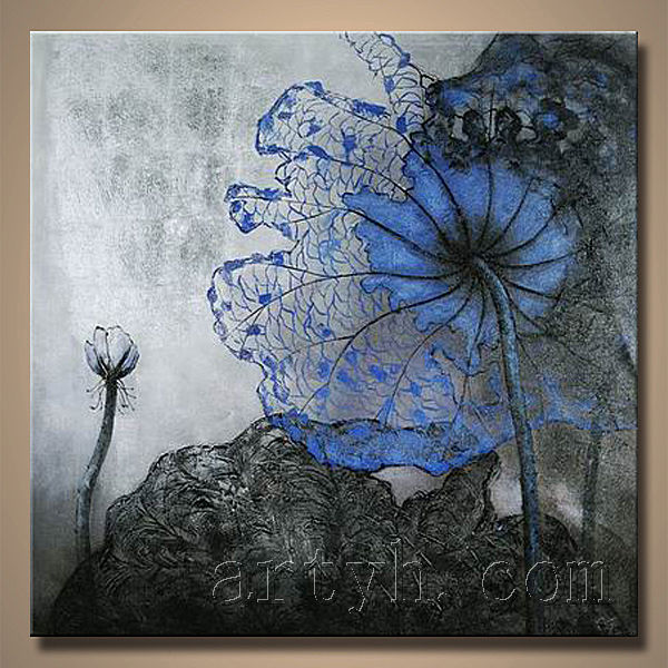 Newest Handmade Blue Flowers Blue Oil Painting Canvas For Decor