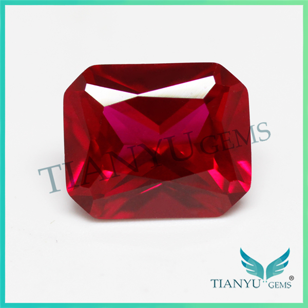 Loose wholesale Octagon Princess Cut Created Synthetic Red Star Ruby