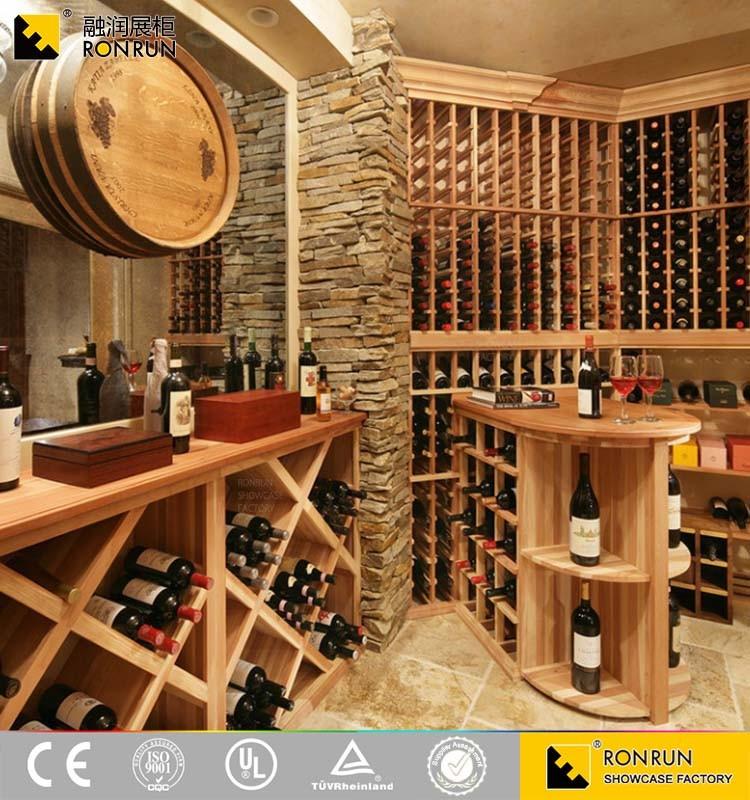 Dise o cl sico de madera estante del vino de la pared - Estantes para bodegas ...