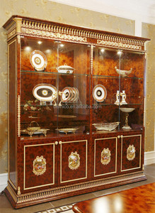 Luxury French Baroque Style Dining Room Glass Sideboard & Hutch/ 4-Door Handmade Carved Kitchen Cupboard Furniture