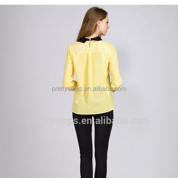 11886e634969b Pretty Steps 2018 Elegant Ladies New Fashion Plus Size Yellow Color Korean  Autumn Chiffon Blouse Designs - Buy New Fashion Chiffon Blouse 2017,Fashion  ...