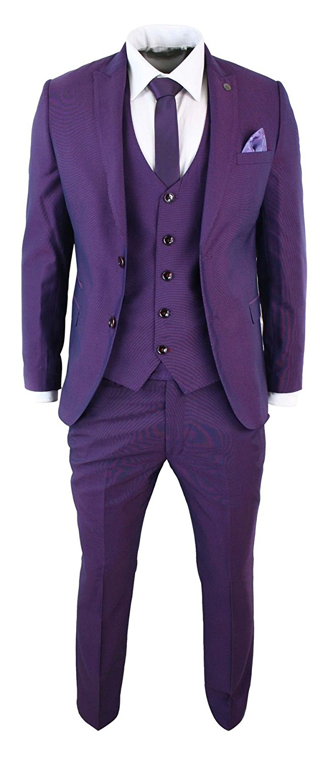 Marc Darcy Men SlimFit 3 Piece Suit Black Trim Work Occasional Party Prom Purple
