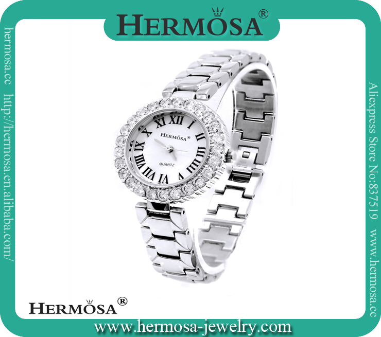 Hermosa Fast <strong>Delivery</strong> Time White Topaz 18K PT Quartz Lady Jewelry Watch 8''