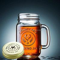 100ml 250ml 350ml 480ml 600ml Wholesale Glass Mason Drinking Jars / Clear Glass Mason Jar Mug With Handle