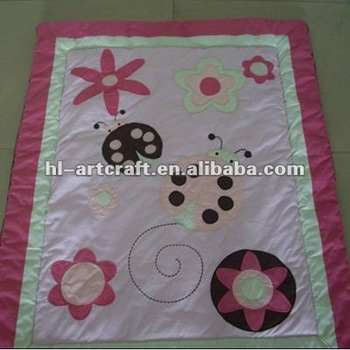 Girls Pink Flower Applique Embroidery Baby Quilt