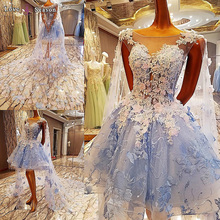 LS00084 light blue elegant short front free shipping evening dresses short fashion wedding party dresses for women