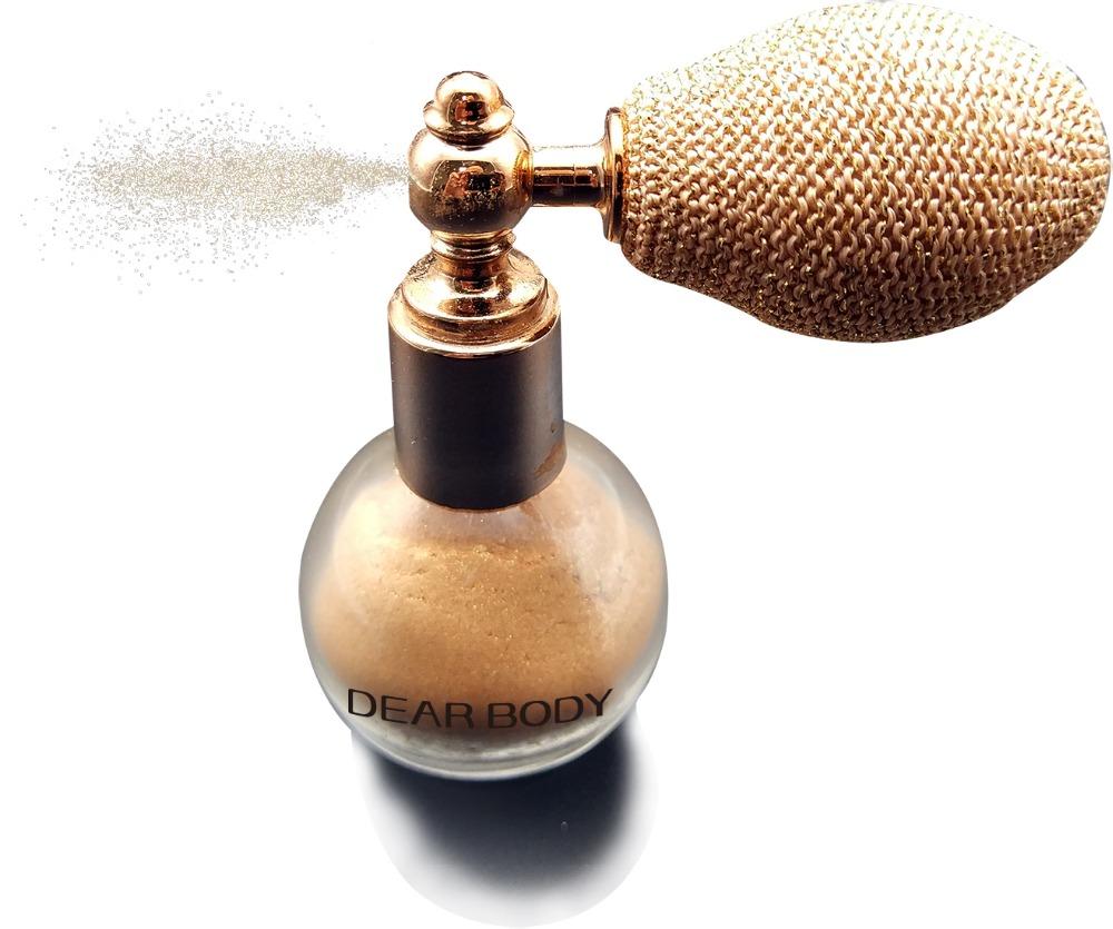 Dear Body Brand spray glass bottle glitter wholesale body shimmer powder
