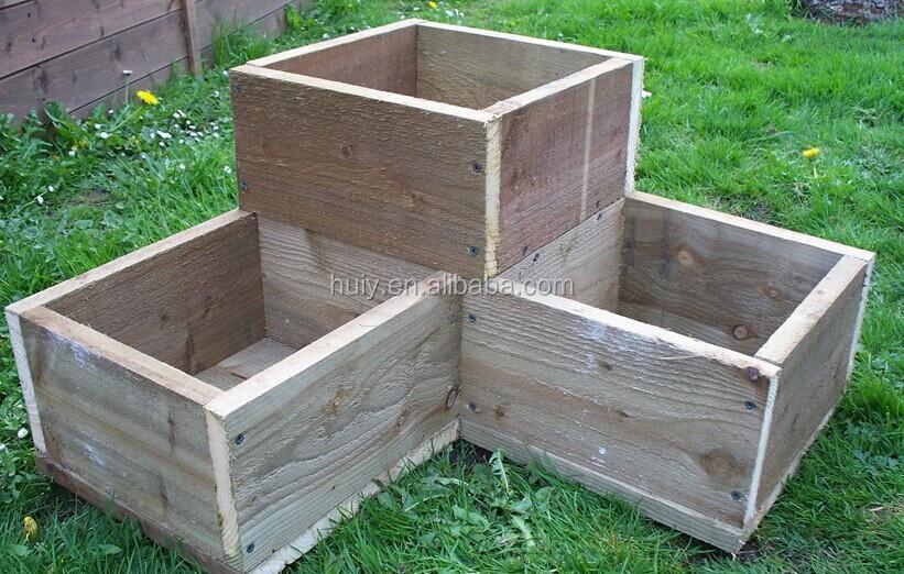 Corner Wooden Garden Planter Wood Trough L Shaped Timber