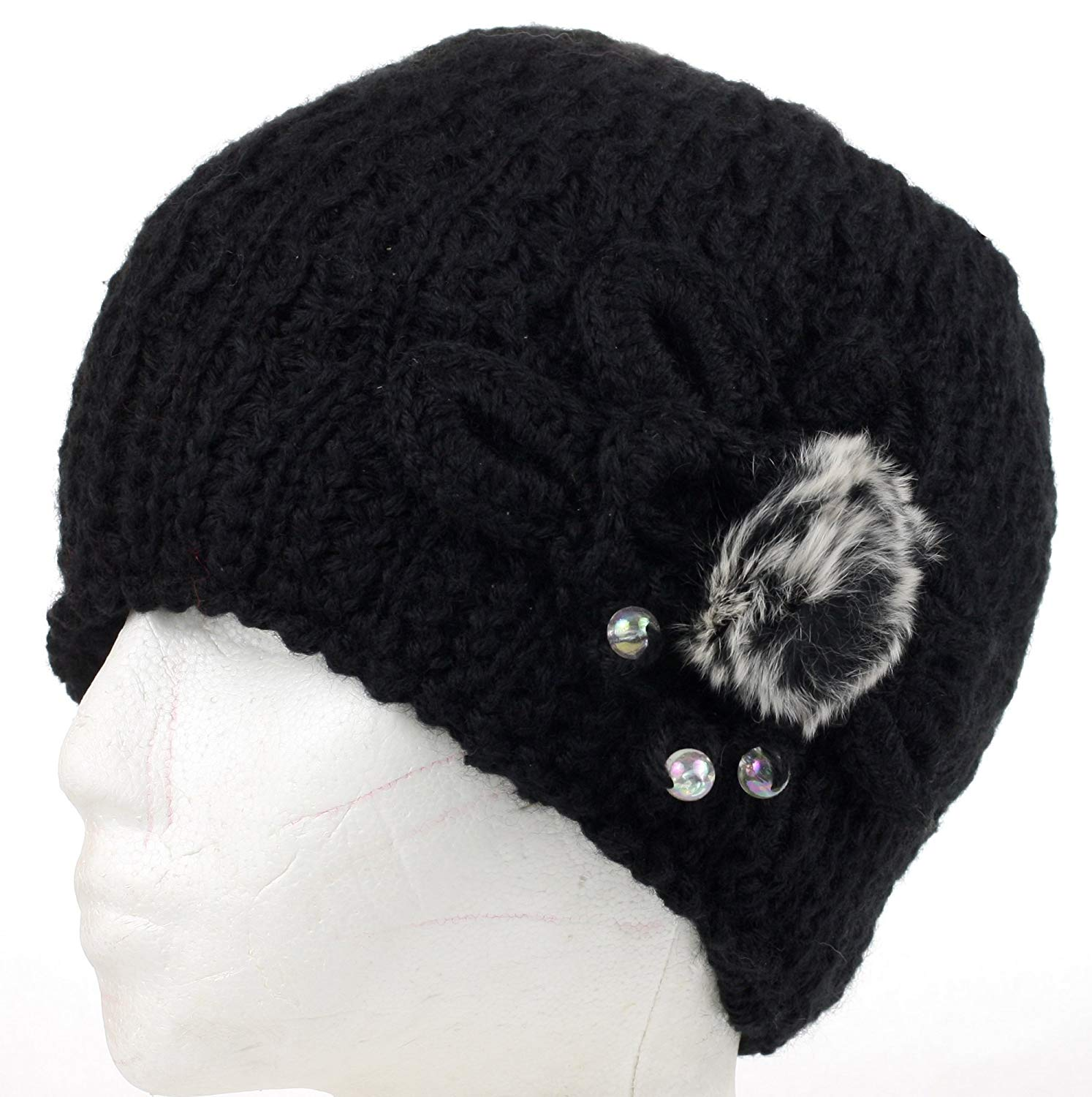 9c4f3ae78924d Get Quotations · DRY77 Elegant Knitted Flower and Fur Ball Winter Beanie  Crochet Hat