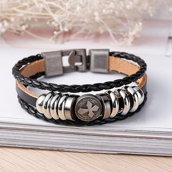 New Fashion Black Cord Metal Gunmetal Cross Beads With Clasp Hook Real Leather Multilayer Bracelet