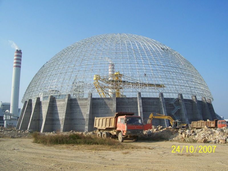 Skylight Dome Coal Storage Steel Space Truss Structure For Power Plant