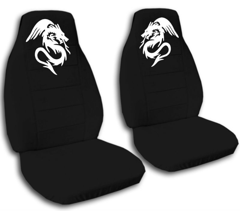 2 Black Car Seat Covers With A White Dragon Buy Camo Seat Covers