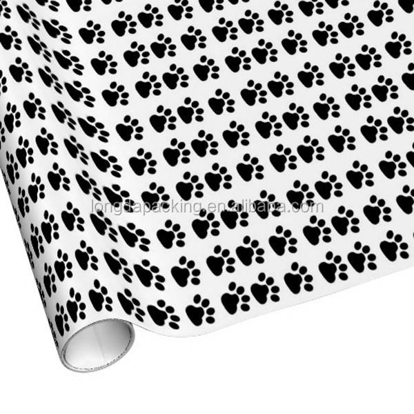 Black Dog Footprints Cute Custom Wrapping Paper Rolls,Gift Roll ...