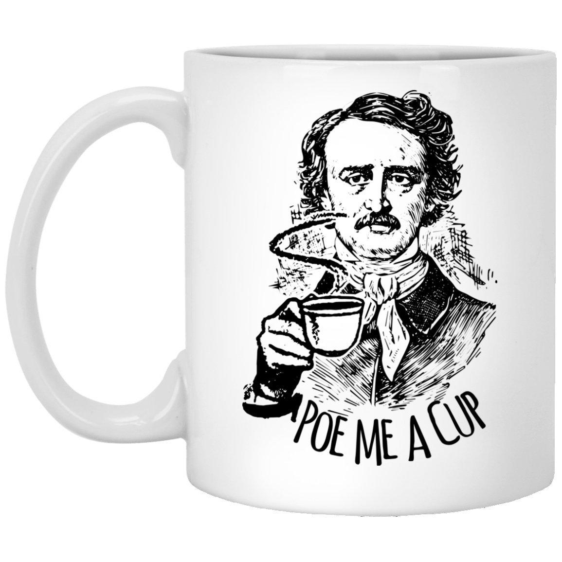 Poe Me A Cup Coffee Mug by TeeCirc Marketplace, Funny Teacher Gift, English Teacher Gift, English Professor Gift, Edgar Allen Poe Mug, Pun Mug, Book Lover Gift
